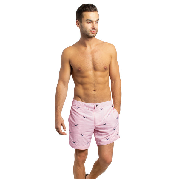 "Aruba 6.5"" Pastel Pink Embroidered Swim Trunks"