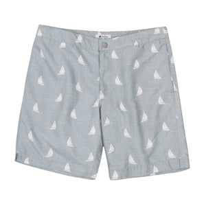 "Aruba 8.5"" Heathered Grey Sailboats Swim Trunks"