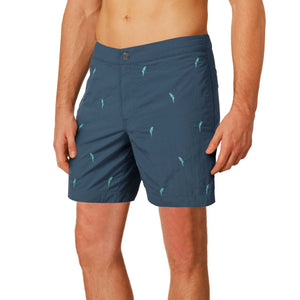 "Aruba 6.5"" Denim Embroidered Macaws Swim Trunks"