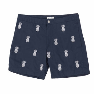 "Aruba 6.5"" Navy Embroidered Pineapple Swim Trunks"