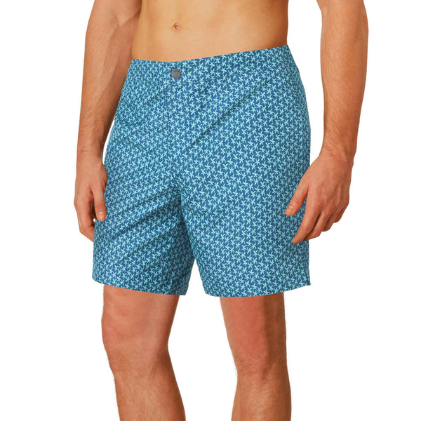 "Aruba 6.5"" Navy / Turquoise Starfish Swim Trunks"