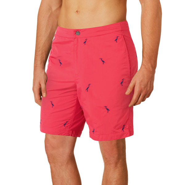 "Aruba 8.5"" Coral Red Embroidered Herons Swim Trunks"
