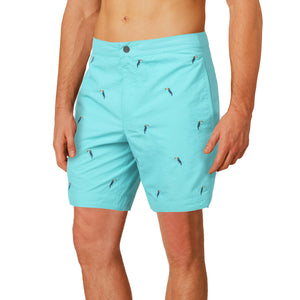 "Aruba 6.5"" Turquoise Emb. Toucans Swim Trunks"