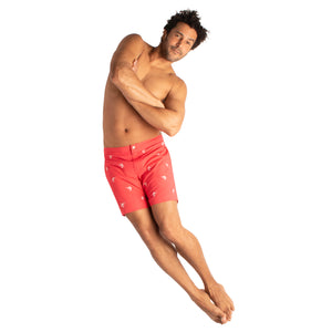 "Aruba 6.5"" Stretch Coral Red Emb Marlins Swim Trunks"