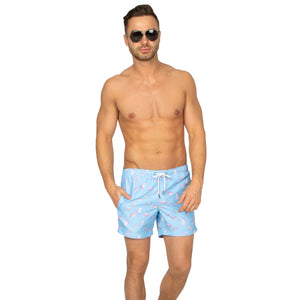 "Cabo 5"" Sky Blue Dragonfruit Swim Trunks"