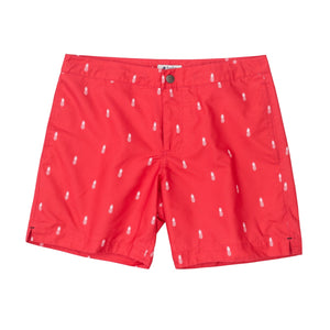 "Aruba 6.5"" Coral Red Pineapples Swim Trunks"