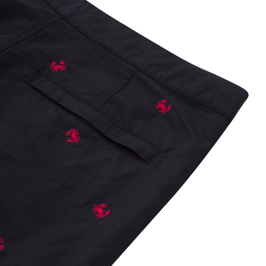 "Aruba 8.5"" Black Embroidered Crabs Swim Trunks"