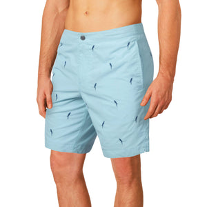 "Aruba 8.5"" Aqua Blue Embroidered Macaws Swim Trunks"