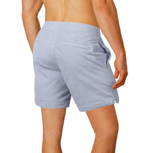 "Aruba 6.5"" Striped Anchor Gray Swim Trunks"
