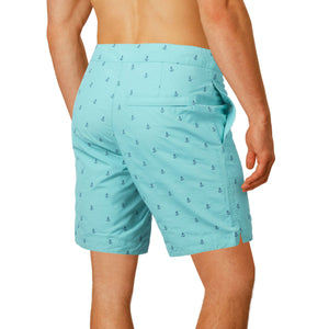 "Aruba 8.5"" Turquoise Embroidered Anchors Swim Trunks"