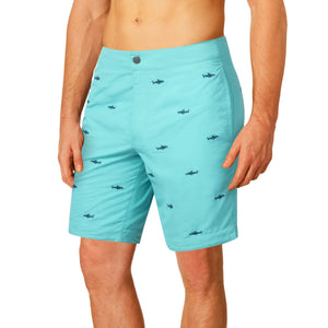"Aruba 8.5"" Turquoise Embroidered Sharks Swim Trunks"