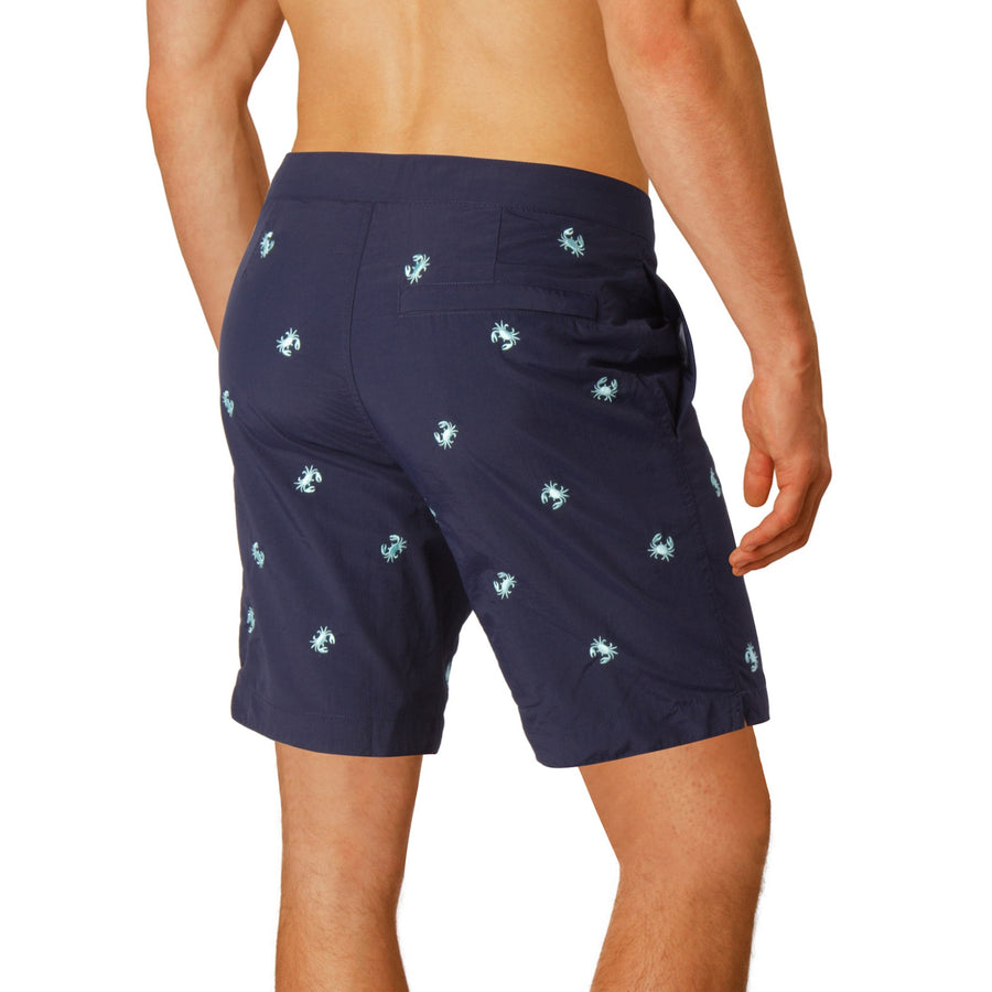 "Aruba 8.5"" Navy Embroidered Crabs Swim Trunks"