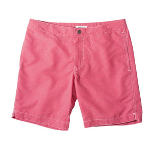 "Aruba 8.5"" Micro Checks Coral Red Swim Trunks"