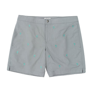 "Aruba 6.5"" Grey Embroidered Palm Trees Swim Trunks"