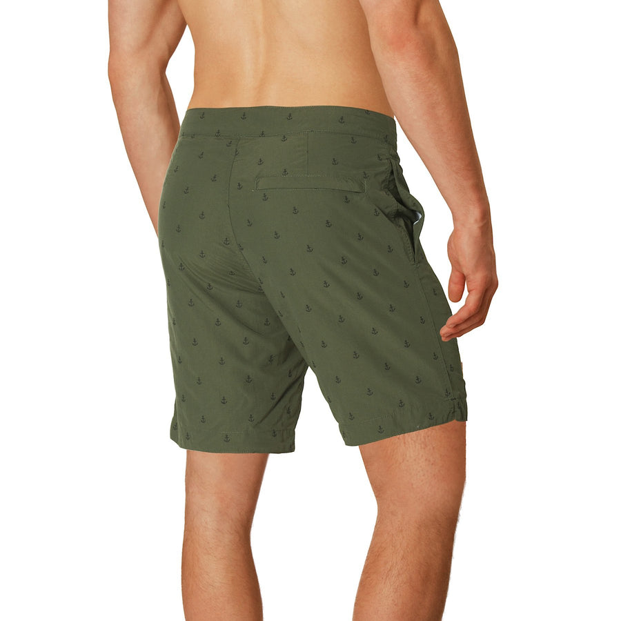 "Aruba 8.5"" Khaki Green Embroidered Anchors Swim Trunks"