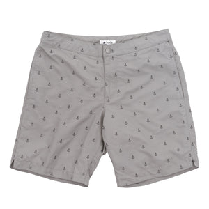 "Aruba 8.5"" Grey Embroidered Anchors Swim Trunks"