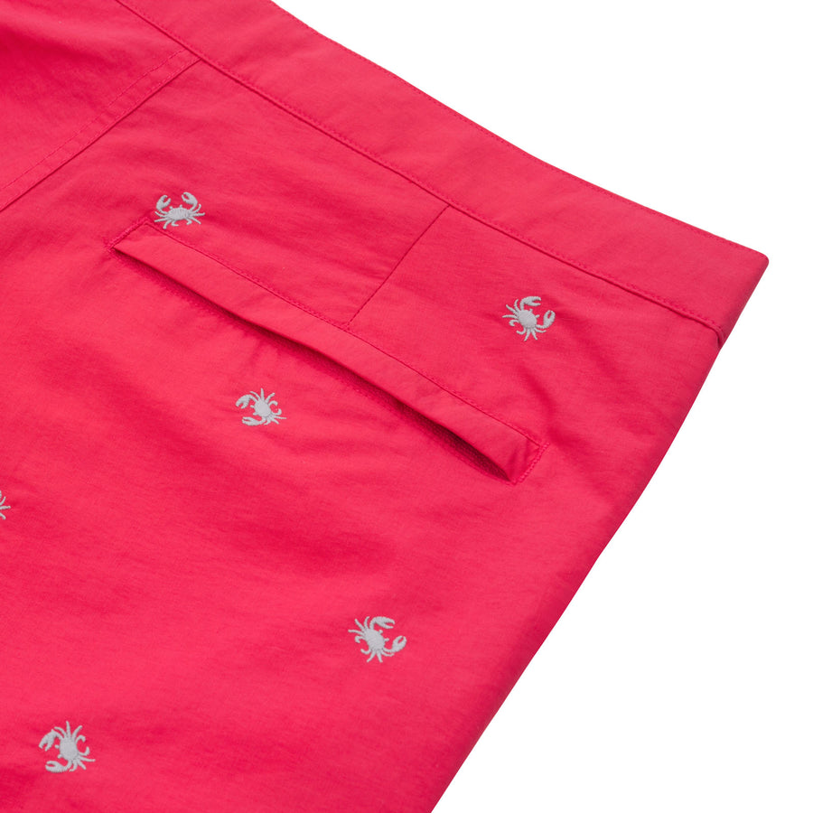 "Aruba 6.5"" Coral Red Embroidered Crabs Swim Trunks"