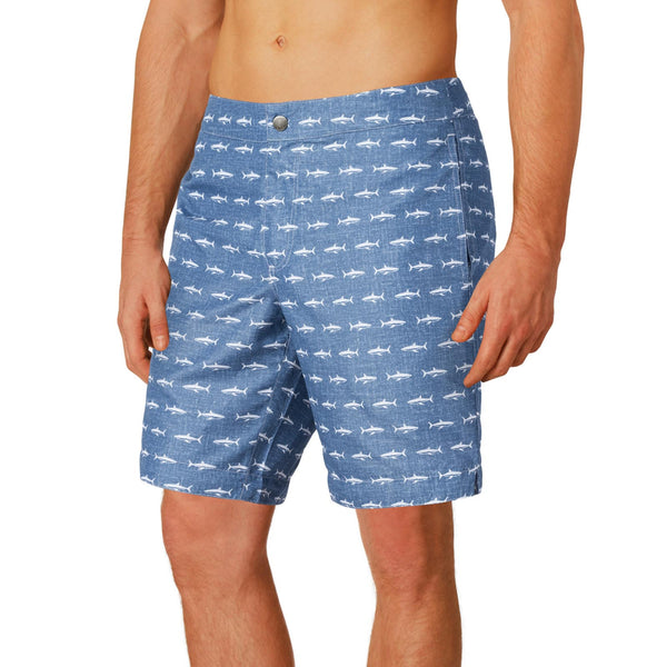 "Aruba 8.5"" Denim Sharks Swim Trunks"