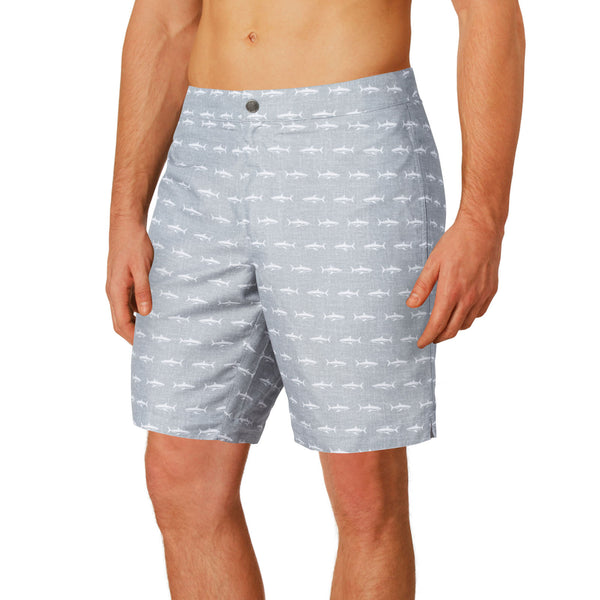 "Aruba 8.5"" Grey Sharks Swim Trunks"
