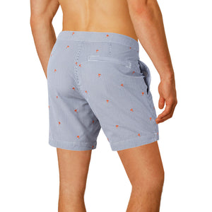 "Aruba 6.5"" Striped Emb. Orange Palms Swim Trunks"