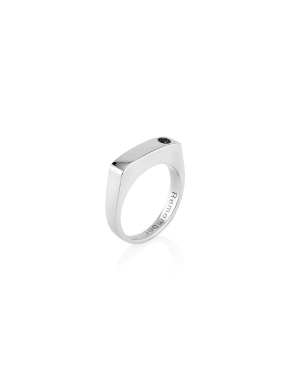 Men's Bar Ring with Black Diamond