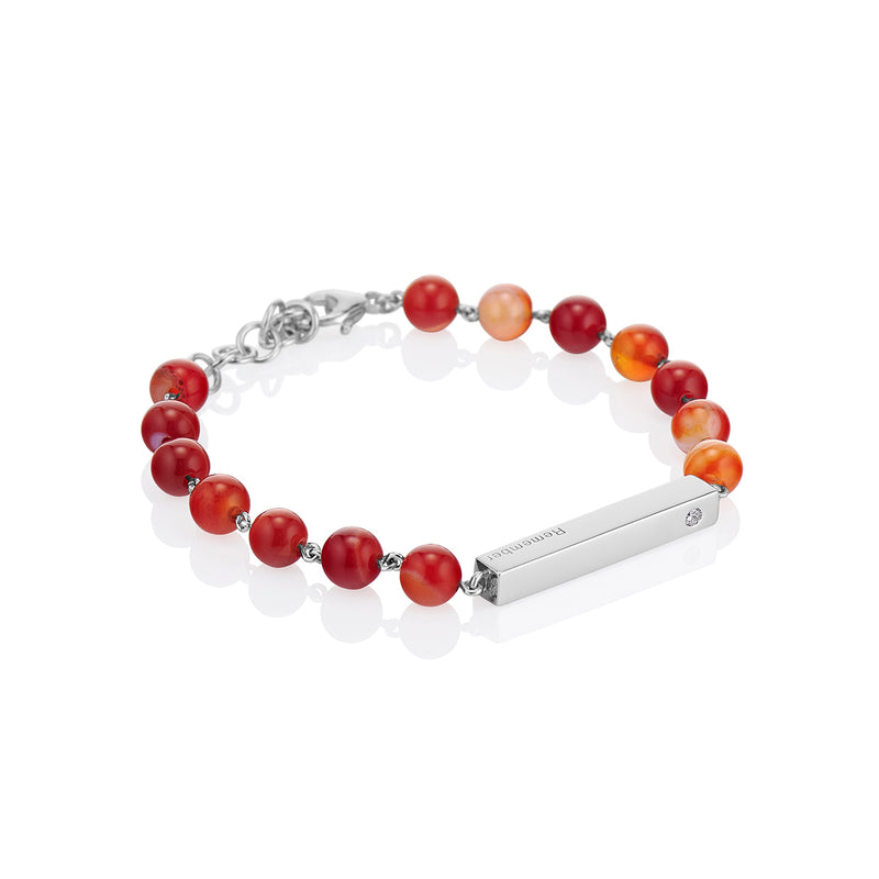 Orange Agate Beaded Bracelet