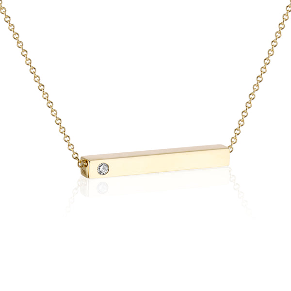 Horizontal Bar Pendant with Birthstone