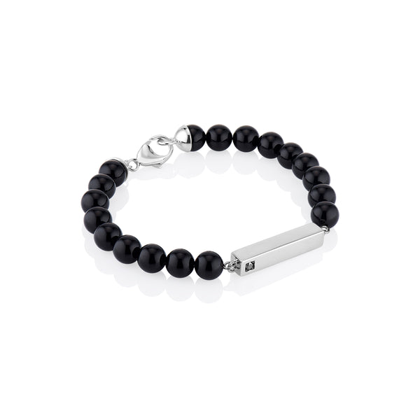 Men's Black Onyx Bead Bracelet with Black or White Diamond