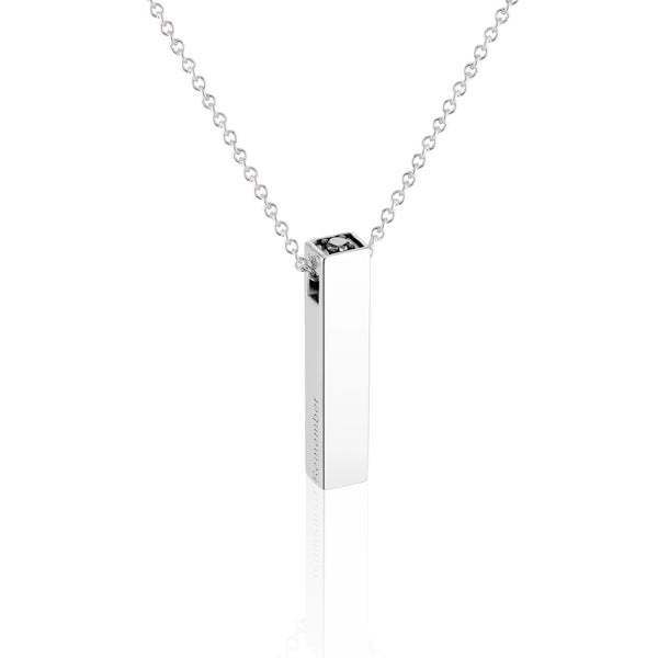 Men's Vertical Bar Pendant with Black or White Diamond