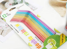 Load image into Gallery viewer, Reusable Rainbow Metal Drinking Straws with Cleaning Brush