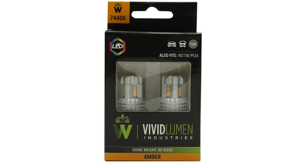 HIGH OUTPUT LED BULBS: 7440 AMBER (PAIR)