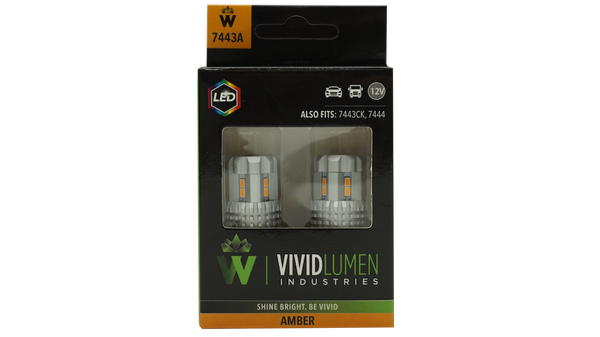 HIGH OUTPUT LED BULBS: 7443 AMBER (PAIR)