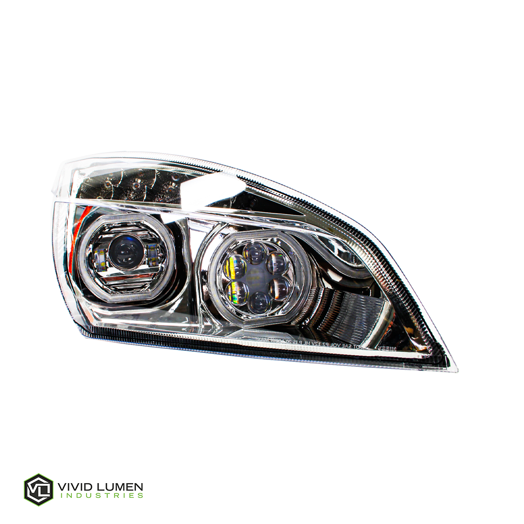 BRILLIANT SERIES: FREIGHTLINER CASCADIA LED HEADLIGHT CHROME PASSENGER 2018-CURRENT