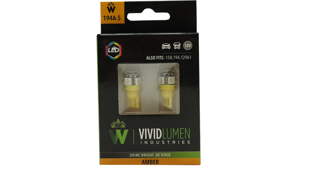 LONG LASTING LED BULBS: 194 AMBER (PAIR)