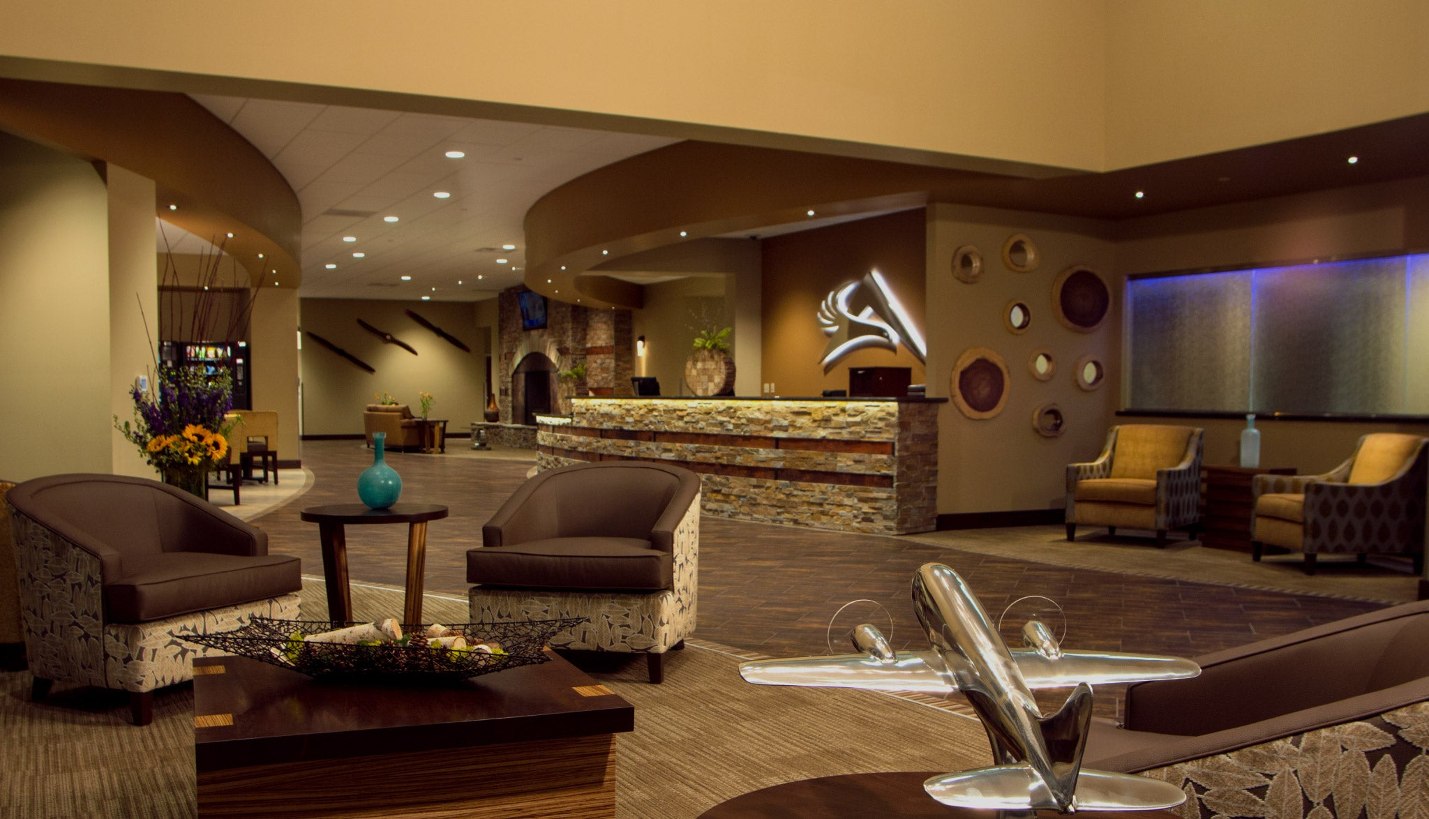 Interior design for FBO lobby in Reno