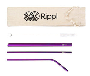 ripplshop Purple Rippl Stainless Steel Straw Set