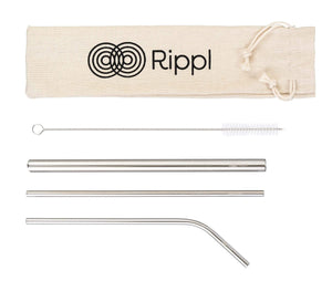 ripplshop Stainless Steel Rippl Stainless Steel Straw Set