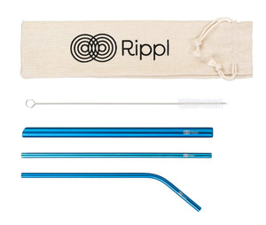 ripplshop Blue Rippl Stainless Steel Straw Set