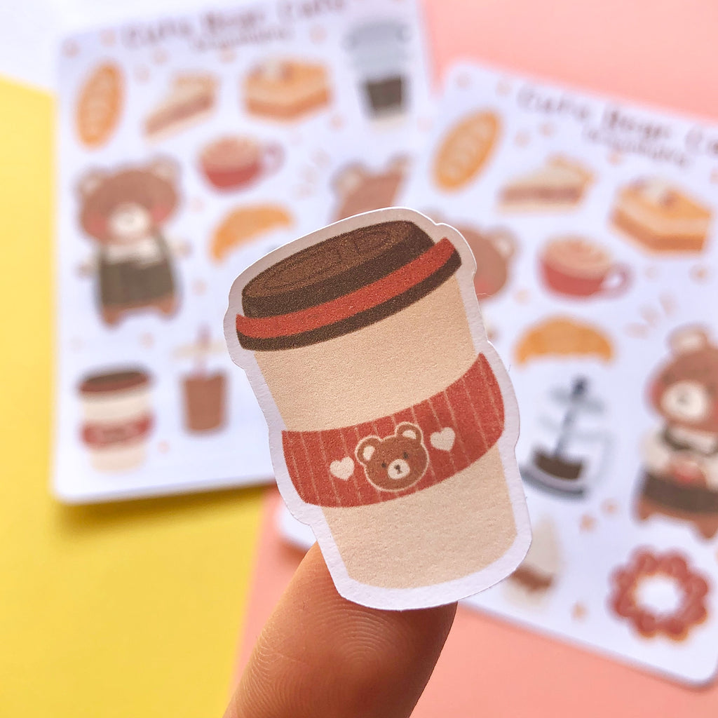 cute bear cafe sticker sheet - thegoodgoodsub