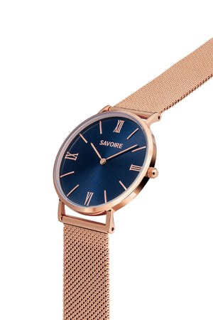 Sasha Blue Rose Gold Watch