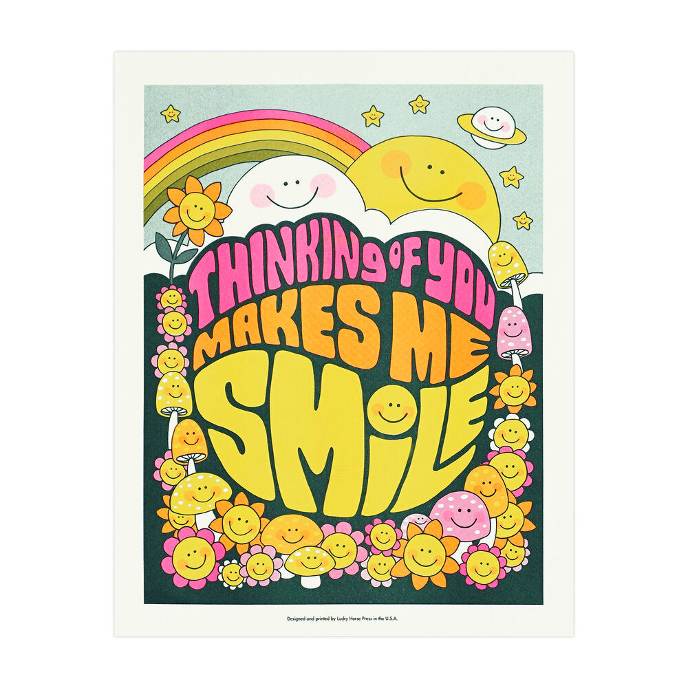 Thinking of You Makes Me Smile Risograph Print