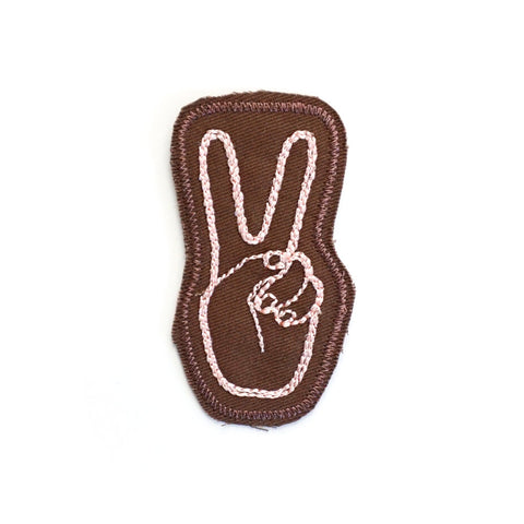 Peace Stitched Patch (Brown)