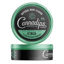 Load image into Gallery viewer, Cannadips CBD Natural Mint maisiņi iepakojumā