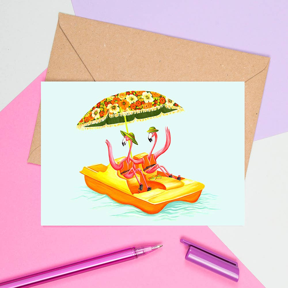 Pink Flamingos on a Pedal Boat Card