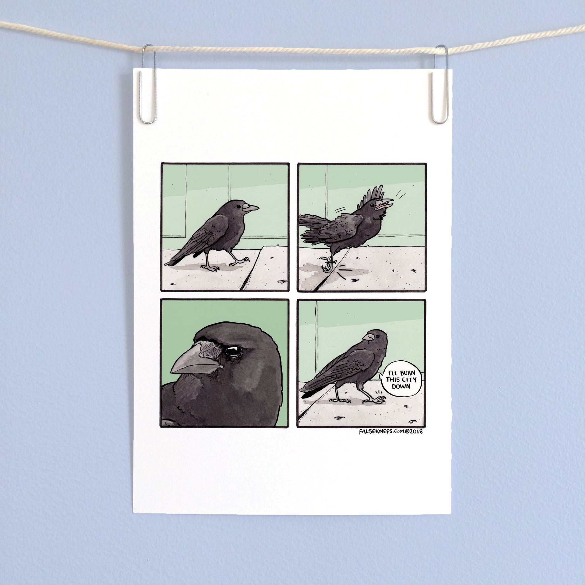 Crow Walk Comic Print