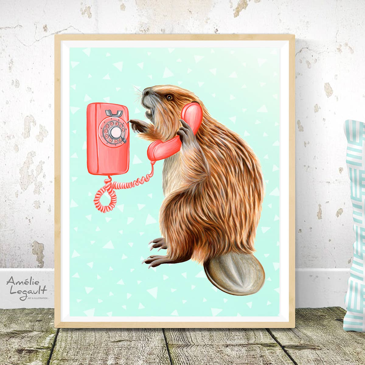 Beaver on the Phone Print