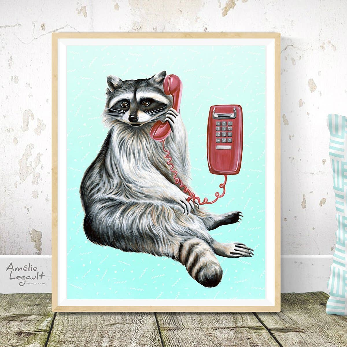 Raccoon on the Phone Print