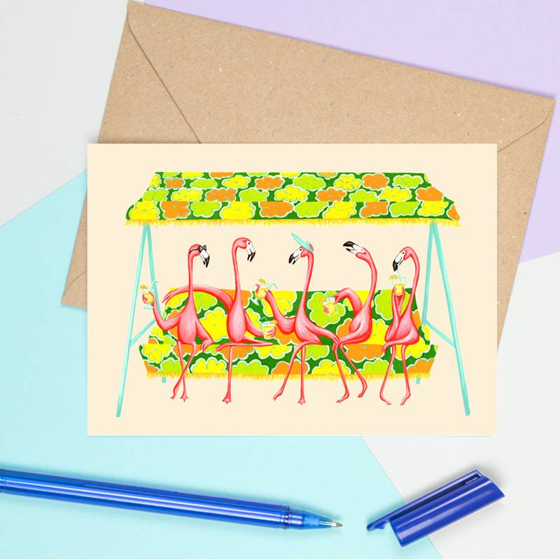 Pink Flamingos Happy Hour Card