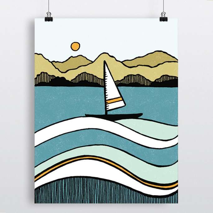 Boat In Harbour Print