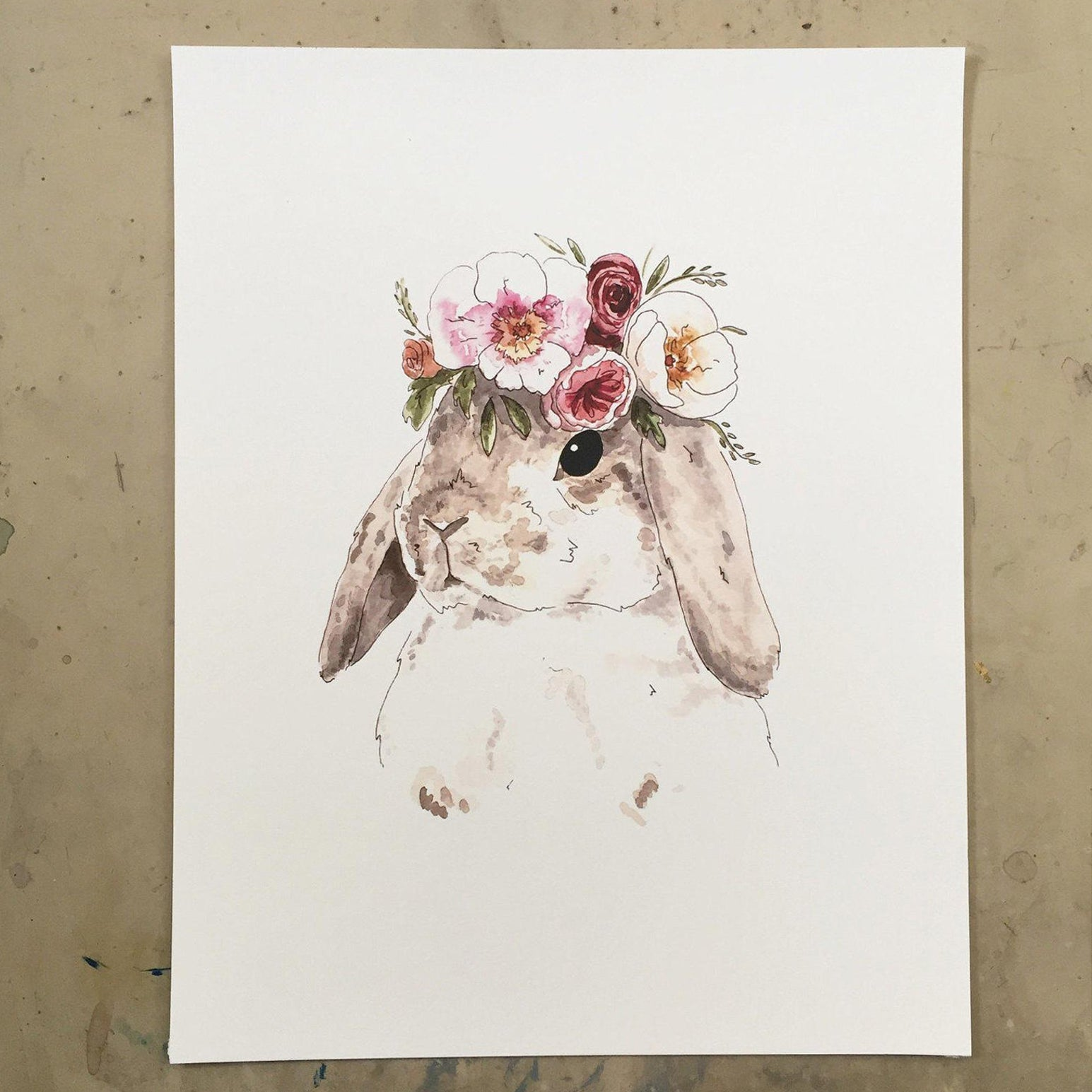 Brown Flower Bunny Print